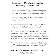 print services max printing and copy done now done right