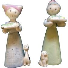 salt u0026 pepper shakers girls with dog and cat made in japan ceramic