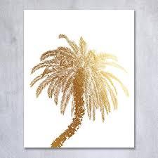 palm tree gold foil decor wall print island