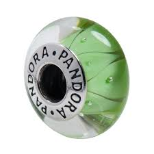 pandora green looking glass murano charm in 925 sterling silver