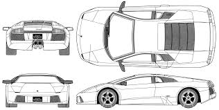 lamborghini front drawing 2001 lamborghini murcielago coupe blueprints free outlines