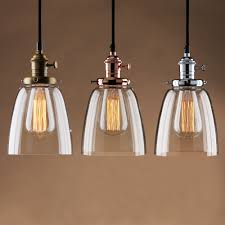 Kitchen Ceiling Pendant Lights Adjustable Vintage Industrial Pendant Lamp Cafe Glass Brass Chrome