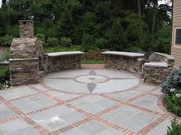Backyard Brick Patio Design With Grill Station Seating Wall And by 25 Great Stone Patio Ideas For Your Home Patios Bricks And
