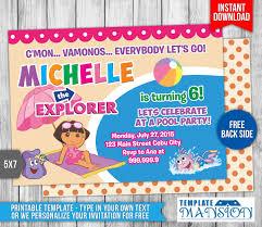 dora the explorer birthday invitation 2 by templatemansion on