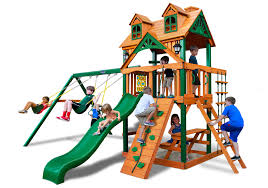 Costco Playground Furniture Charming Swing Set By Gorilla Playsets Plus Green Tube