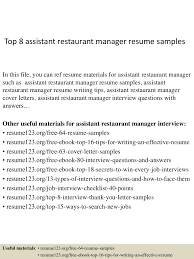 Cover Letter For Restaurant Manager Top8assistantrestaurantmanagerresumesamples 150331210040 Conversion Gate01 Thumbnail 4 Jpg Cb U003d1427853687