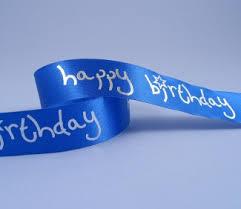 happy birthday ribbon 1m of blue happy birthday ribbon