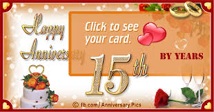 happy anniversary 15th year card with second honeymoon