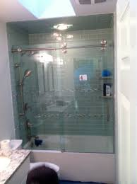 glass bath doors frameless sliding frameless bathtub enclosure with visible tracks and wheels