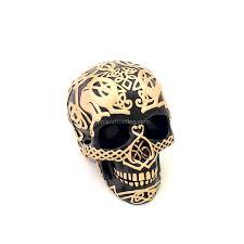 black celtic skull with gold celtic design gothic home decor