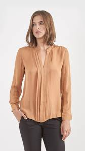 blouse band l agence band collar pleated blouse in persimmon gold the