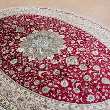 Red Oval Rug Red Area Oval Silk Rug Loom Knotted Handmade Carpet Iran Buy