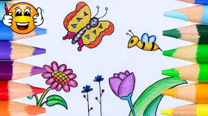 coloring pages for kids flowers butterfly bee coloring for kids