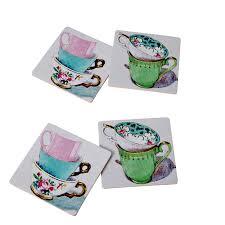 4 cork coasters vintage teacup prints from rice dk vibrant home