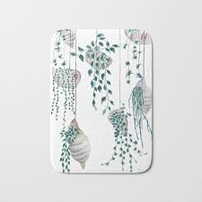 Seashell Bath Rug Hanging Plant In Seashell Bath Mat By Colorandcolor Society6