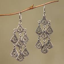 silver chandelier earrings sterling silver chandelier earrings bali novica