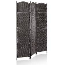 shoji room divider amazon com 3 panel dark brown wood u0026 bamboo woven room divider