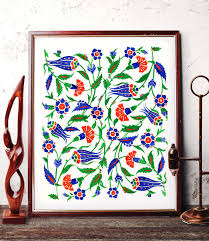 Ottoman Tulip by Traditional Ottoman Motif Watercolor Wall Art Blue Tulip And