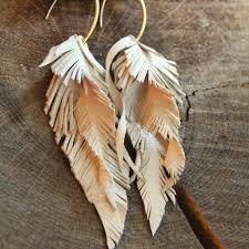 feather earrings s s leather earrings feathers handmade leather and leather earrings