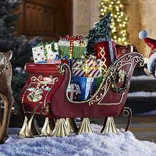 large outdoor reindeer and sleigh decorations
