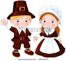 thanksgiving day children pilgrim stock vector 88293559