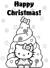christmas christmas tree coloring sheets pdf happy kitty pages