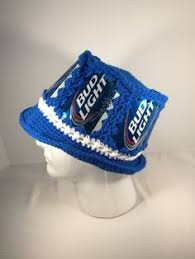 bud light beer hat budweiser america beer can hat crochet hat made from recycled beer