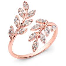 pink rings gold images 14kt rose gold diamond branch ring wide diamond ring ring measures jpg