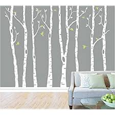 Tree Wall Decor For Nursery Set Of 8 White Birch Tree Wall Decal Nursery Tree Wall