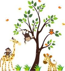 Jungle Nursery Wall Decor Monkey Wall Decal Jungle Safari 3 Hanging Monkey Silhouette