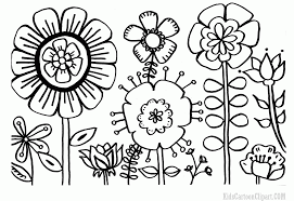 black and white drawing of garden coloring page children