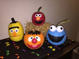 painted sesame street pumpkins for the baby u0027s 1st halloween