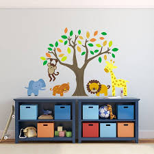 Bedroom Jungle Wall Stickers Jungle Animals And Tree Wall Stickers By Mirrorin