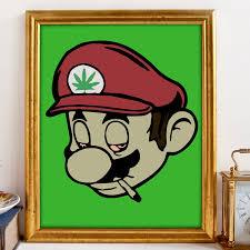 Stoner Home Decor Stoner Mario Gamer Art Nintendo Art Marijuana Art Cannabis