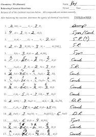 chemical equations and reactions worksheet answers