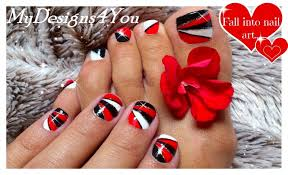 geometric nail art for short nails red nails black and white