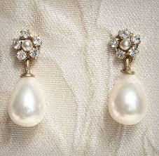 vintage earrings pearl bridal earrings vintage rhinestone gold post swarovski
