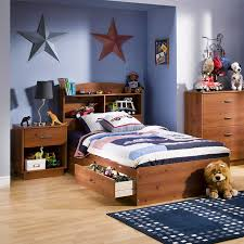 blue color of wall paint interior decor with stars and nightstand