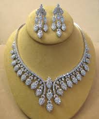 bridal necklace sets silver images Stunning bridal necklace with simulated diamonds in silver gleam jpg