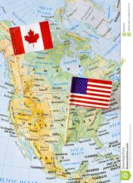 United States Canada Map by Canada And Usa Flag Pin On Map Stock Photo 58660407 Megapixl