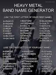 Meme Writing Generator - heavy metal band name generator my best humor pin community