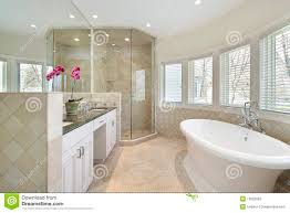 luxury master bath with glass shower stock photography image