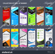 flyers design collection roll banner design stand template stock vector