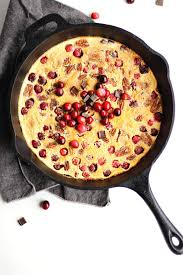cranberry clafoutis with dark chocolate and pecans rhubarbarians