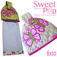 kitchen sweet pea butterfly tea towel topper 6x10 in the hoop machine embroidery design