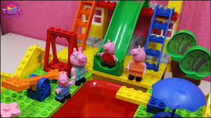 peppa pig house with swimming pool and playground building