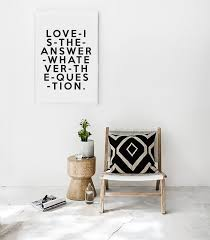 is the answer typography poster black and white art home