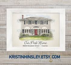 house warming wedding gift idea custom home painting new home gift watercolor house house warming