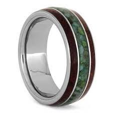 wood inlay wedding band chrysocolla ring with bubinga wood inlays tungsten wedding band