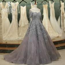 silver wedding dresses illusion neckline sleeves appliques bead gown bridal